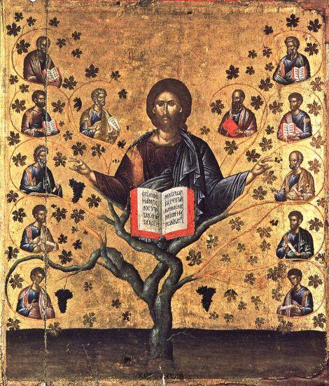 Χριστὸς ἡ Ἄμπελος. 15ος αἰώνας. Ἐνορία Μαλλῶν, Μητρόπολη Πέτρας, Κρήτη.