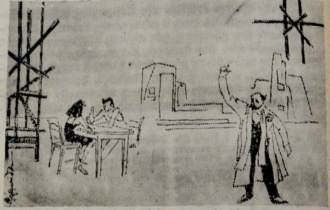 Σκίτσο από την παράσταση της Έλλης Σολομωνίδου Μπαλάνου. Μεσημβρινή 7/10/1963.