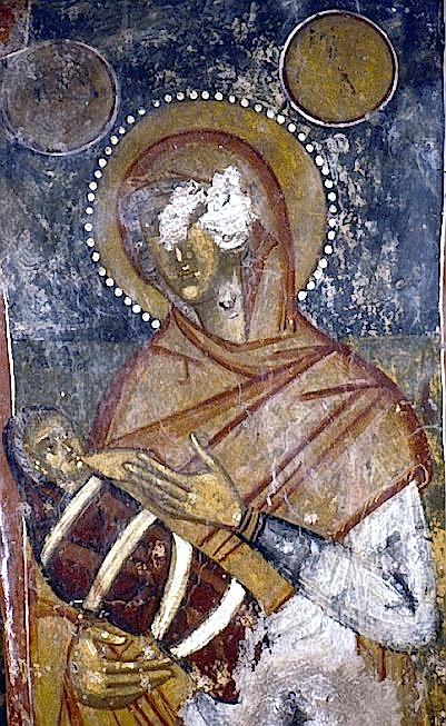 Η Άννα θηλάζει την κόρη της Μαρία. Τοιχογραφία Τέμπλου, ναός Αγίας Άννας, Ανισαράκι Κανδάνου, επαρχία Σελίνου, Κρήτη.
