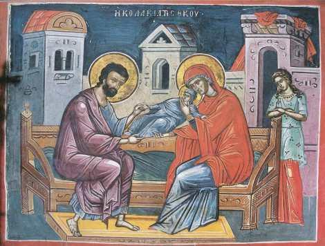 Η μικρή Μαρία έχει παραδοθεί στις θωπείες της Άννας και του Ιωακείμ. Τοιχογραφία, Ιερά Μονή Διονυσίου, Άθως.