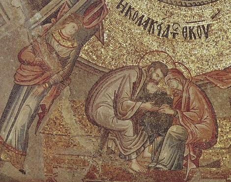 Κολακεία της Θεοτόκου. Η μικρή Μαρία στην αγκαλιά των γερόντων γονέων της Ιωακείμ και Άννας. Ψηφιδωτό, Μονή της Χώρας, Κωνσταντινούπολη.