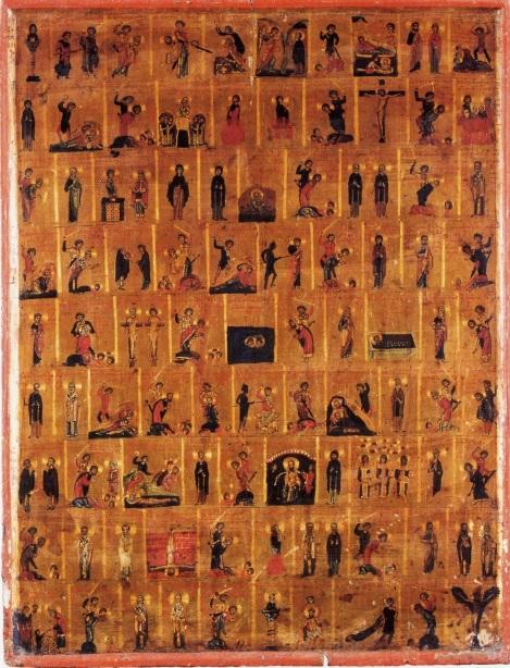 Εικόνα 11ου αιώνα με παραστάσεις των αγίων που εορτάζουν από Σεπτέμβριο έως Νοέμβριο. Ιερά Μονή Αγίας Αικατερίνης, Σινά.
