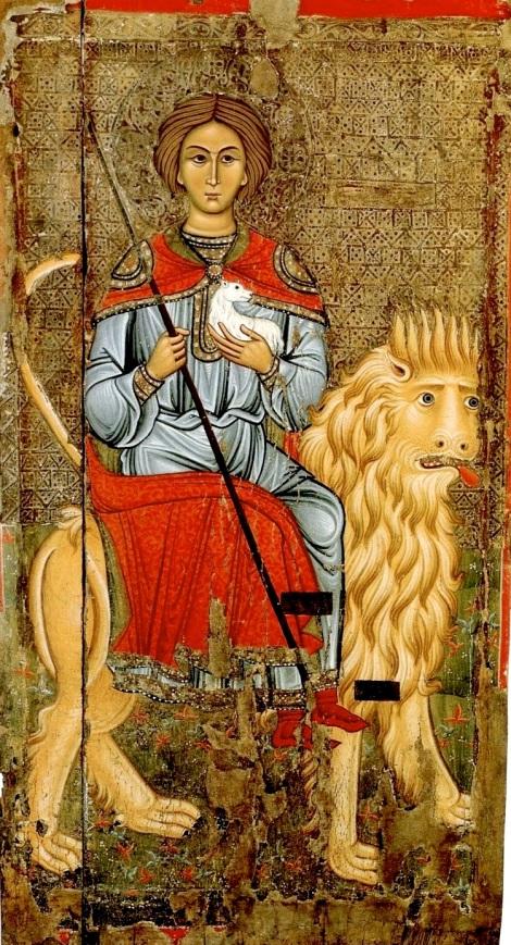 Ο Άγιος Μάμας. Ιερός Ναό Παναγίας Καθολικής, Πελένδρι, Κύπρος. 13ος αιώνας. Ο άγιος επάνω σε λέοντα κρατά ένα αρνάκι και ποιμενική ράβδο.